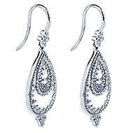 14k White Gold Bujukan Drop Earrings angle 2
