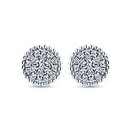 14k White Gold Bujukan Stud Earrings angle 1