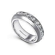 14k White Gold Channel Set Round 11 Stone Diamond Anniversary Band angle 3
