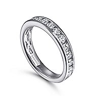 14k White Gold Channel Set Round 16 Stone Diamond Anniversary Band