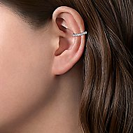 14k White Gold Classic Diamond Earcuff Earrings
