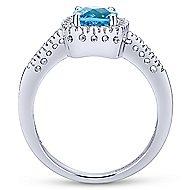 14k White Gold Classic Swiss Blue Topaz Fashion Ring