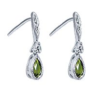 14k White Gold Color Solitaire Drop Earrings angle 2