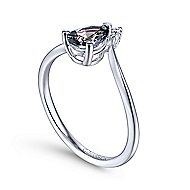 14k White Gold Color Solitaire Fashion Ladies' Ring angle 3