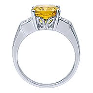 14k White Gold Color Solitaire Fashion Ladies' Ring angle 2