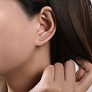 14k White Gold Comets Earcuffs Earrings angle 2