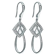 14k White Gold Contemporary Drop Earrings angle 2