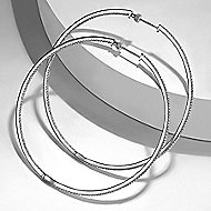 14k White Gold Contemporary Inside Out Diamond Hoop Earrings