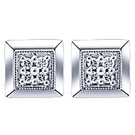 14k White Gold Contemporary Stud Earrings angle 1