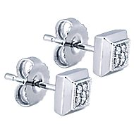 14k White Gold Contemporary Stud Earrings angle 2