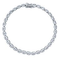 14k White Gold Contemporary Tennis Bracelet