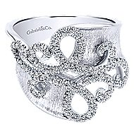 14k White Gold Contemporary Twisted Ladies' Ring