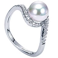14k White Gold Cultured Pearl Diamond Bypass Ladies Ring