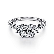 14k White Gold Cushion Cut 3 Stones Engagement Ring angle 1