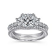 14k White Gold Cushion Cut 3 Stones Engagement Ring angle 4