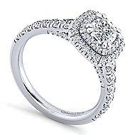 14k White Gold Cushion Cut Double Halo Engagement Ring angle 3