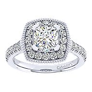14k White Gold Cushion Cut Perfect Match Engagement Ring angle 5