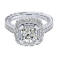 14k White Gold Cushion Cut Perfect Match Engagement Ring angle 1