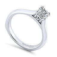 14k White Gold Cushion Cut Solitaire Engagement Ring