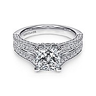 14k White Gold Cushion Cut Split Shank Engagement Ring angle 1