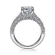 14k White Gold Cushion Cut Split Shank Engagement Ring angle 2