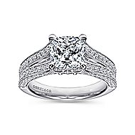 14k White Gold Cushion Cut Split Shank Engagement Ring angle 5