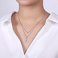 14k White Gold Delicate Layered Pave Diamond Fashion Necklace