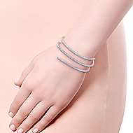 14k White Gold Diamond Layered Wrap Bangle Bracelet