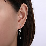14k White Gold Drop Classic Hinge Earrings