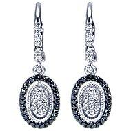 14k White Gold Ebony Ivory Drop Earrings angle 1
