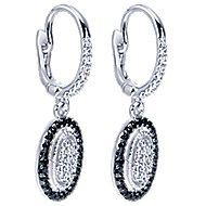 14k White Gold Ebony Ivory Drop Earrings angle 2