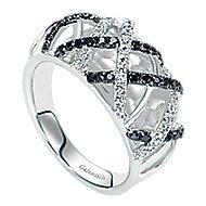 14k White Gold Ebony Ivory Fashion Ladies' Ring angle 3