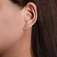 14k White Gold Elongated Diamond Starburst Earrings