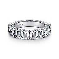 14k White Gold Emerald Cut 11 Stone Diamond Anniversary Band angle 1