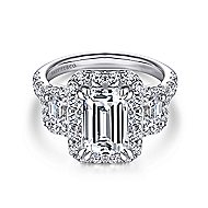14k White Gold Emerald Cut 3 Stones Halo Engagement Ring