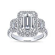 14k White Gold Emerald Cut 3 Stones Halo Engagement Ring angle 5