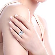 14k White Gold Emerald Cut 3 Stones Halo Engagement Ring angle 7