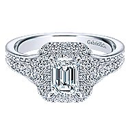 14k White Gold Emerald Cut Double Halo Engagement Ring angle 1