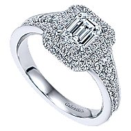 14k White Gold Emerald Cut Double Halo Engagement Ring angle 3