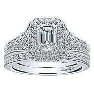 14k White Gold Emerald Cut Double Halo Engagement Ring angle 4