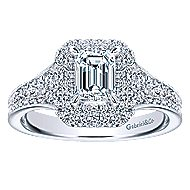 14k White Gold Emerald Cut Double Halo Engagement Ring angle 5