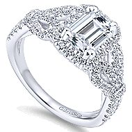 14k White Gold Emerald Cut Halo Engagement Ring angle 3