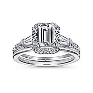 14k White Gold Emerald Cut Halo Engagement Ring angle 4