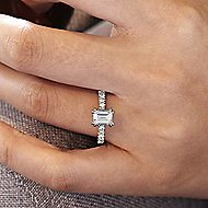 14k White Gold Emerald Cut Straight Engagement Ring angle 6