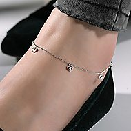 14k White Gold Eternal Love Chain Ankle Bracelet