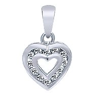 14k White Gold Eternal Love Heart Heart Pendant angle 1