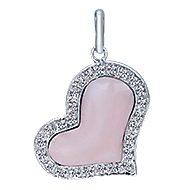 14k White Gold Eternal Love Heart Heart Pendant angle 1
