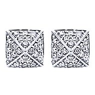 14k White Gold Fierce Stud Earrings angle 1