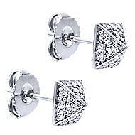 14k White Gold Fierce Stud Earrings angle 2