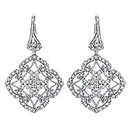 14k White Gold Flirtation Drop Earrings angle 1